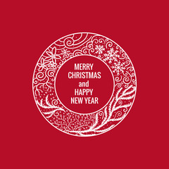 Card Merry Christmas and Happy New Year. Round frame hand drawn white color ornaments. Vector illustration isolated on red background.