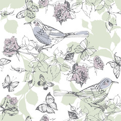 Seamless pattern with birds, butterflies and blossoming branch of a rose on a white background. Hand-drawn Vector Illustration.