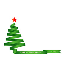 Silhouette of a green Christmas tree and the inscription Happy New year