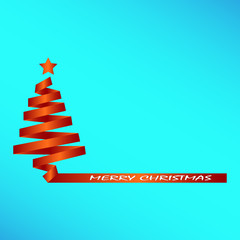 Silhouette of a Christmas tree with the inscription merry Christmas