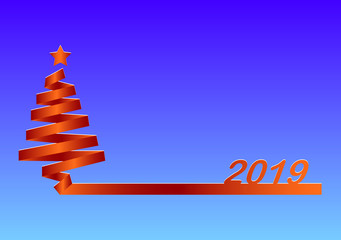 Silhouette of the Christmas tree of the red gradient ribbon with the number 2019