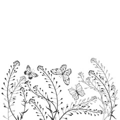 Floral vector background with shepherd's purse, butterflies and  place for text on white. Invitation, greeting card or an element for your design.
