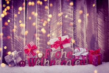 frohe weihnachten karte bokeh