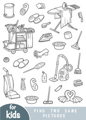 Find two the same pictures, game for children. Black and white set of objects for cleaning and housekeeping