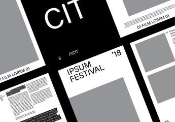 Diseño de catálogo de eventos blanco y negro
