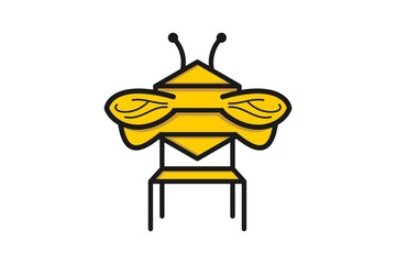 Bench and bee Logo Designs Inspiration Isolated on White Background