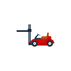 Forklift Trucks vector illustration. Storage equipment icon set. Forklifts in various combinations, storage racks, pallets with goods.