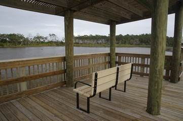 Bird-watch station among marshy ground in the Big Talbot Island State Park, Florida, USA