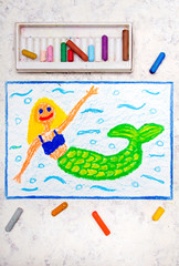 Colorful hand drawing: Beautiful mermaid with green tail