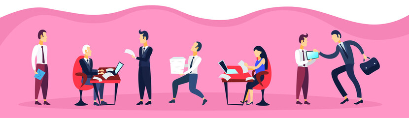 business man woman sitting office workplace using laptop communication business interview concept cartoon character flat horizontal banner vector illustration