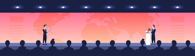 people sit cinema hall back rear view looking business man woman politician talking from tribune business conference over world map speaker international forum horizontal banner flat vector