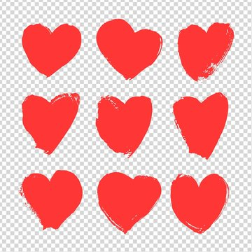 Abstract big red textured smears in heart shape isolated on imitation transparent background