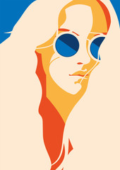 Illustration of a woman with long hair wearing sunglasses