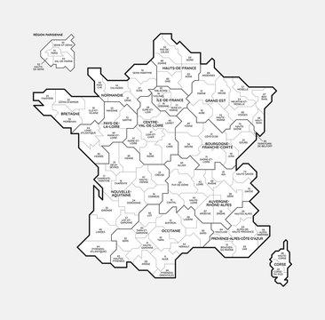Carte de France, des régions et des départements