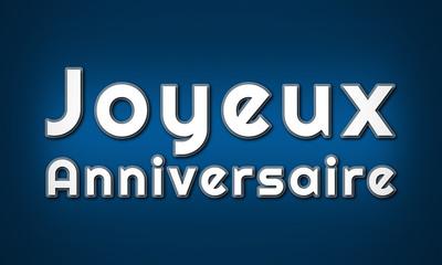 Joyeux Anniversaire - clear white text written on blue background