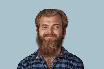 Closeup portrait happy young man
