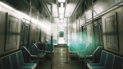 The span of the camera through mystical endless train. 3D Rendering.