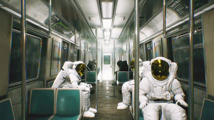 Astronauts go to work in the train. Abstract cosmic fantasy. 3D Rendering