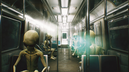 Alien go to work in the train. Abstract cosmic fantasy. 3D Rendering