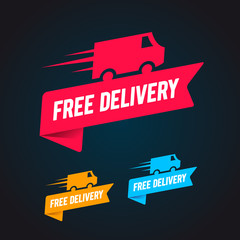 Vector free delivery business sale label tag  set with detailed truck and text. Three color collection.