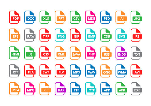 Vector illustration set of colorful flat outline document labels and file types formats icons. PDF, MP3, TXT, XLS, PPT, CSV, MOV, DOC, RAR, PNG, EPS, ZIP, HTML.