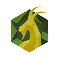 Goat icon in cube style hexagon emblem
