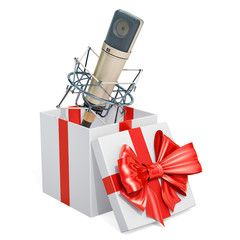Gift box with studio microphone, 3D rendering