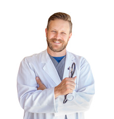 Handsome Young Adult Male Doctor With Beard Isolated On A White Background