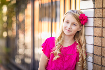 Cute Young Caucasian Girl Outdoor Portrait