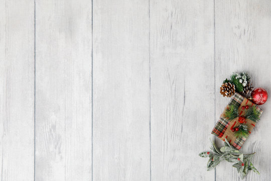 Christmas theme  on white wood background with space for text