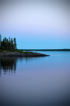 Vertical Image of a Beautiful Northern Canada Seascape at Sunset