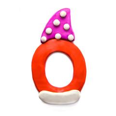 Plasticine letter O in winter hat