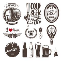 Good craft beer brewery labels, emblems and design elements (tap, cap, bottle, mug, barrel)