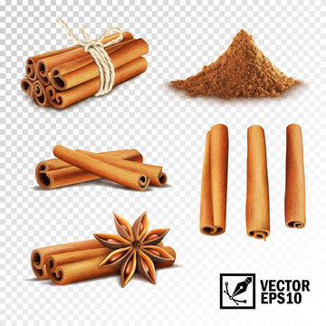 3d realistic vector set of cinnamon ( cinnamon sticks tied with a rope, anise stars and a pile of cinnamon)