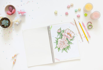 sketch drawing with colored pencils. flowers peonies. Candles, gifts, tea and white background