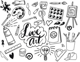 Black and white fine art hand drawn doodle and tool model icon isolated. Art subject doodle used for school education or document decoration with subject header lettering, VECTOR Illustration