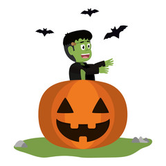 Kid and halloween cartoon