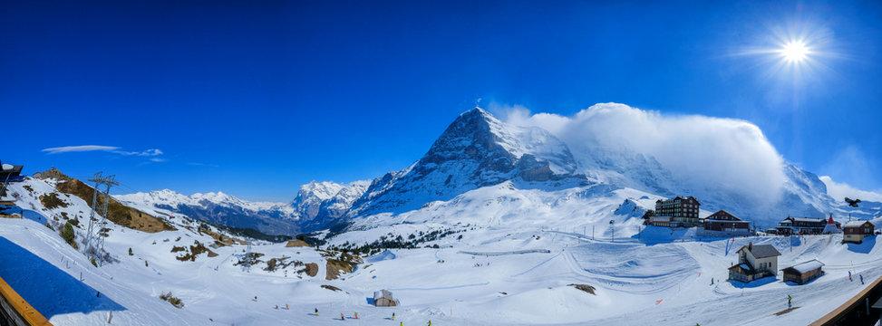 Panoramic view of snow mountains from Kleine Scheidegg, in winter, Switzerland