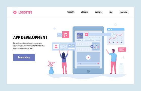 Vector web site linear art design template. Mobile phone app development. Landing page smartphone applications concepts for website and mobile development. Modern flat illustration.