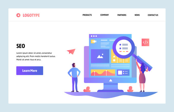 Vector web site linear art design template. SEO search engines optimization and content marketing. Landing page concepts for website and mobile development. Modern flat illustration.