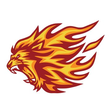 Lion Head Flaming Fire Vector  Illustration Logo