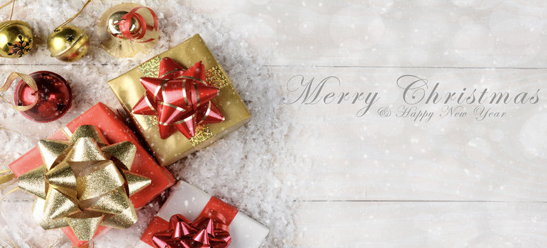 Presents Bells, Bows and Snow Flakes with Merry Christmas