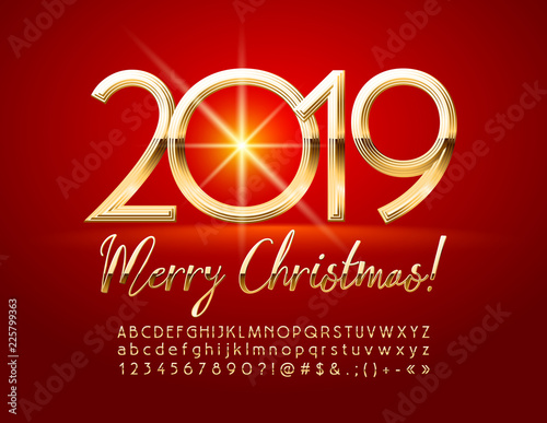 Merry Christmas 2019 Images.Vector Chic Merry Christmas 2019 Greeting Card With Alphabet