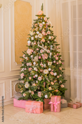 pastel christmaselegant christmas tree with decorations and gifts on elegant hardwood floor pink - Pastel Christmas Decorations