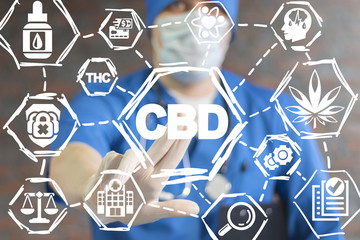 Doctor push a CBD button on a virual screen. Cannabis Marijuana Cannabidiol Health Care Science concept.