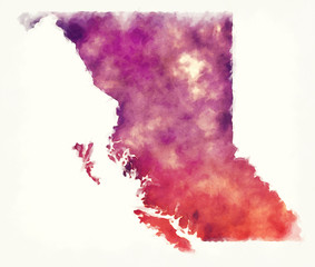 British Columbia Province watercolor map of Canada in front of a white background