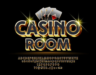 Fototapeta Luxury Vector Logotype for Casino with Royal Font. Set of Black and Gold Letters, Numbers and Symbols.