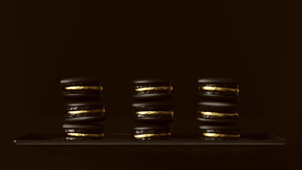 2 Black and Go2 Black and Gold Luxury Macrons Macaroon Towers 3d illustration 3d renderd Luxury Macrons Macaroon Towers 3d illustration 3d render