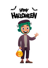Cartoon character child in costume Frankenstein monster Happy Halloween
