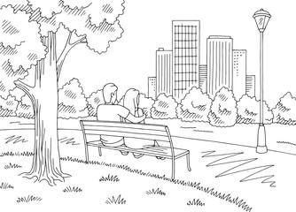 Man hugging a woman sitting on a bench. Park graphic black white landscape sketch illustration vector